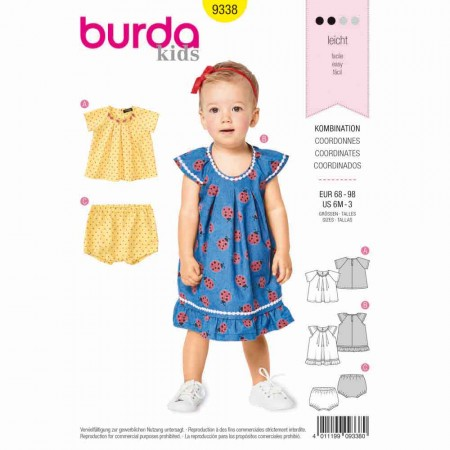 BURDA - 9338 Blouse and Panties - Strap Dress with Frills