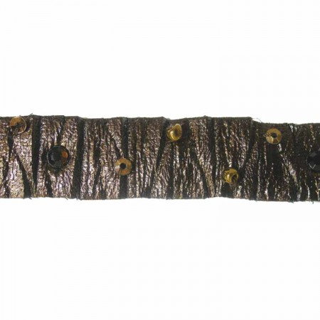 CREATIVE DECOR - 14mm Crumple Tape with Beads - Brown