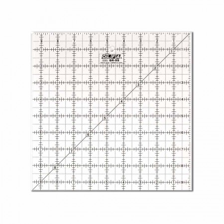 "OLFA QR-9S - 9½"" Square Frosted Acrylic Ruler"