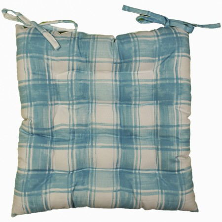 Indoor/Outdoor Chair Pad - Plaid - Turquoise - 17 x 17''