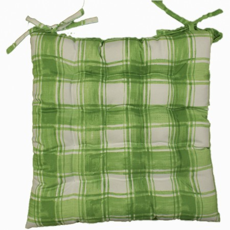 Indoor/Outdoor Chair Pad - Plaid - Lime - 17 x 17''