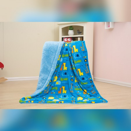 Baby Kids Printed Fleece Throw - Animal Zoo  - Blue - 50x40''