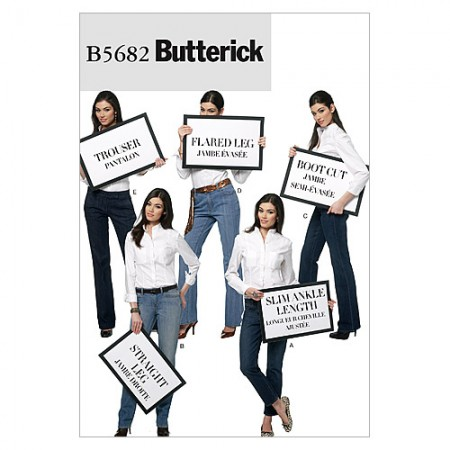 B5682 Misses' Jeans and Trousers (size: 6-8-10-12-14)
