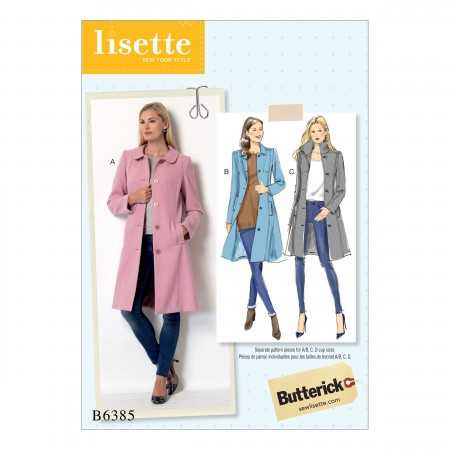B6385 Misses' Funnel-Neck, Peter Pan or Pointed Collar Coats (Size: 6-8-10-12-14)
