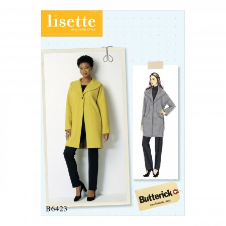 B6423 Misses' Drop-Shoulder, Shawl Collar Coat with In-Seam Pockets (Size: 4-6-8-10-12-14)