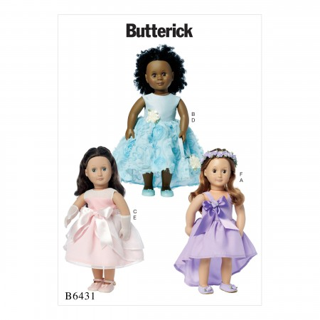 """B6431 Special Occasion Dresses, Bag, Gloves, and Headpiece for 18"""" Doll  (Size: One Size Only)"""