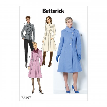 B6497 Misses'/Misses' Petite Jacket and Coats with Asymmetrical Front and Collar Variations (Size: 16-18-20-22-24)