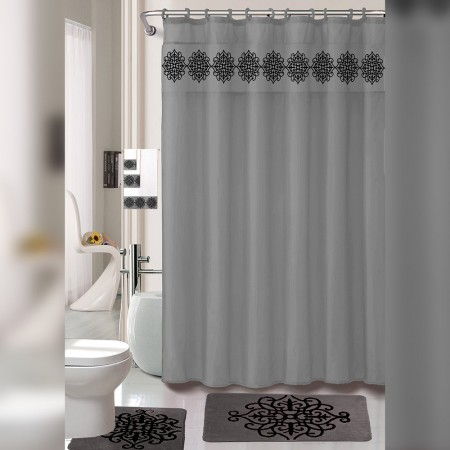 18 Piece regular Bath Mat & Floor Mat Set with Shower Curtain and Towel Set - Grey