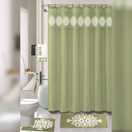 18 Piece regular Bath Mat & Floor Mat Set with Shower Curtain and Towel Set - Green