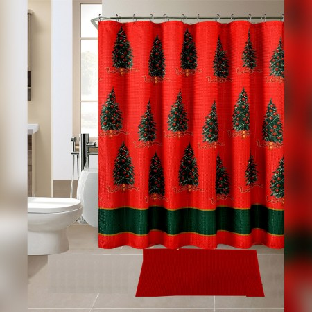14 Pieces Bath Mat Floor Mat Set with Shower Curtain - Green Christmas Tree