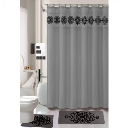 18 Piece jumbo Bath Mat & Floor Mat Set with Shower Curtain and Towel Set - Grey