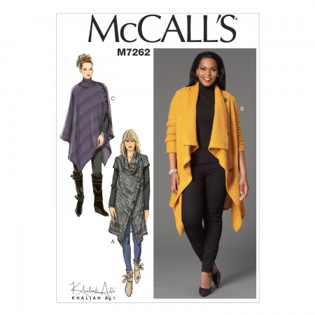 M7262 Misses'/Women's Sweater Coat and Poncho (Size: 8-10-12-14-16)