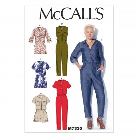 M7330 Misses' Button-Up Rompers and Jumpsuits (Size: LRG-XLG-XXL)