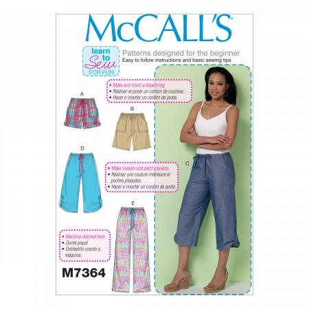 M7364 Misses' Drawstring Shorts and Pants with Pockets (size: XSM-SML-MED)
