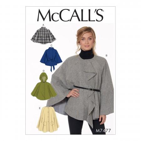 M7477 Misses' Hooded, Collared or Collarless Capes (size: 16-18-20-22-24-26)