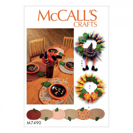 M7490 Pumpkin Placemats/Table Runner, Witch Hat/Legs, and Wreaths (size: One Size Only)