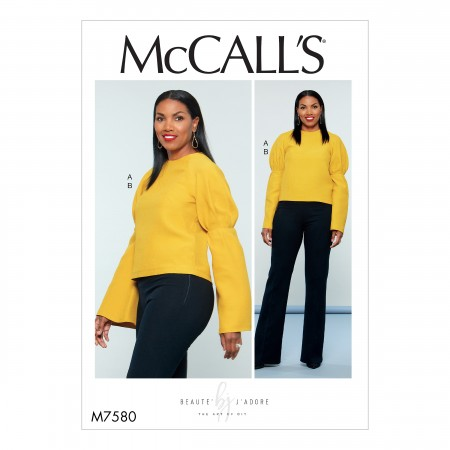 M7580 Misses' Puff Raglan-Sleeve Top and Straight-Leg Pants with Yoke (size: 6-8-10-12-14)