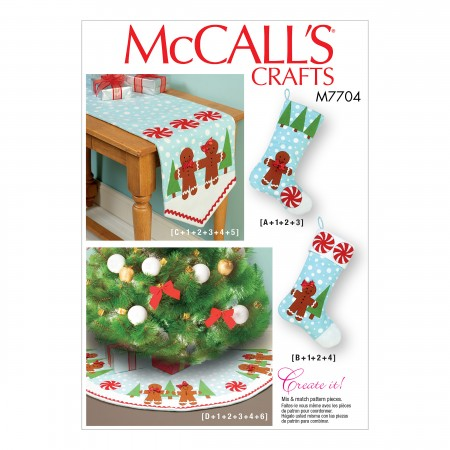M7704 Stockings, Runner, and Tree Skirt Holiday Decorations (size: One Size Only)
