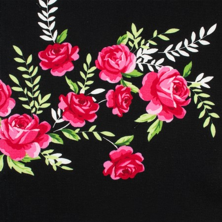 CHARMING by GERTIE Cotton Print - Scarlet - Black