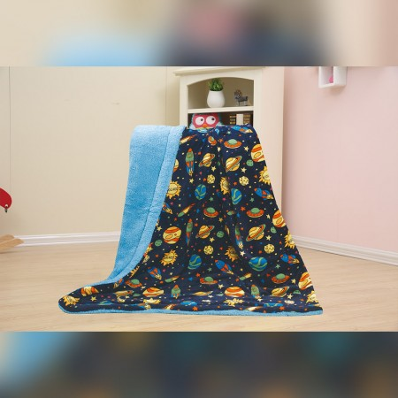 Baby Kids Printed Fleece Throw - Rockets & Planets  - Navy - 50x40''