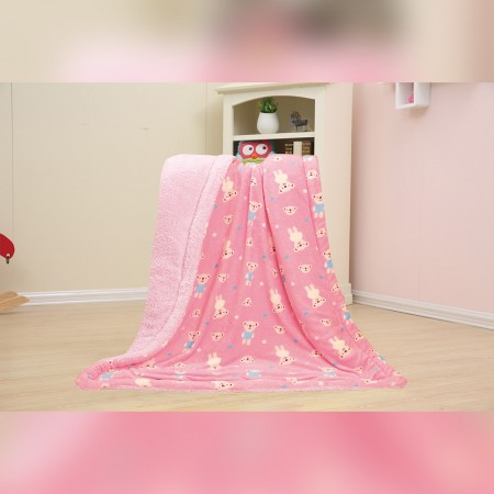 Baby Kids Printed Fleece Throw - Teddy Bear  - Pink - 50x40''