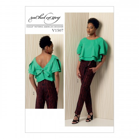 V1507 Misses' Layered Back-Tie Top and Asymmetrical-Zip Pants (size: 12-14-16-18-20)