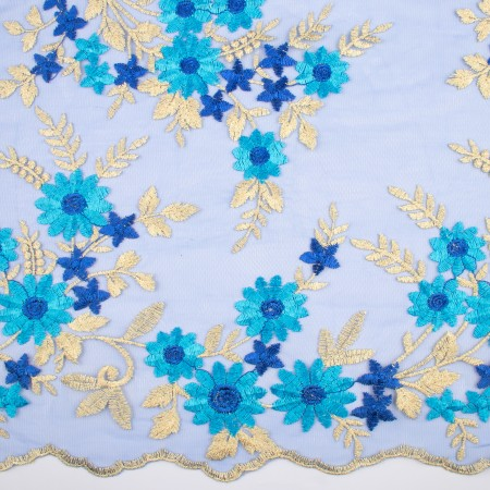 AMORE Embroidered Mesh - Blue