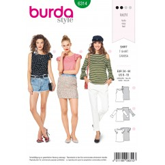BURDA - 6314 Top with Sleeve Frills – Long Sleeved Top with Shoulder Cut-Outs –  Top with Bow