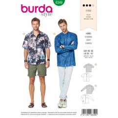 BURDA - 6349 Men's Shirt – Short Sleeved – Long Sleeved – Shirt with Stand Collar