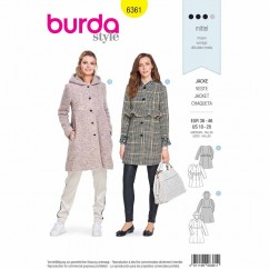 BURDA 6361 - Long Wool Jacket with a Frill, Short Coat with a Hood