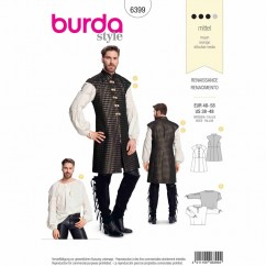 BURDA 6399 - Renaissance - Long Vest/Waistcoat and Shirt For Men