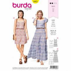 BURDA - 6403 Tiered Dress - Buttoned Top - Elastic Casing at the Waist