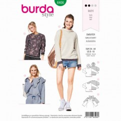 BURDA - 6406 Sweater with Rib Knit Bands, Hoodie - Top with Frills