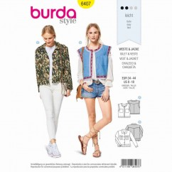 BURDA - 6407 Waistcoat/Vest with Trim, Jacket in Jeans Look with Frill