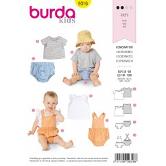BURDA - 9316 Shirt – Top – Wide-Leg Panties – Bibbed Shorts