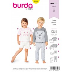 BURDA - 9326 Pyjamas – Top – Elastic Waist Bottoms – Shorts