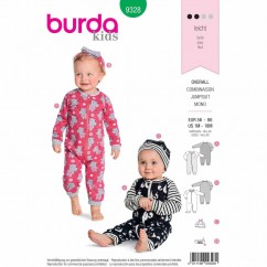 BURDA 9328 - Baby Rompers- Hat - Headband