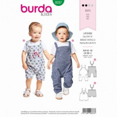 BURDA - 9337 Bibbed Trousers/Pants with Elastic Casing - Stretch Straps - Leg Bands