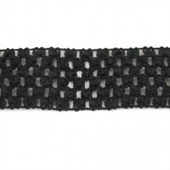 CROCHET HEADBAND ELASTIC 1,75 BLACK