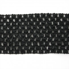 "CROCHET HEADBAND ELASTIC  2,75"" BLACK"