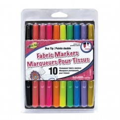FABRIC FUN Fabric Marker 2-Tips bright colours -10 pcs