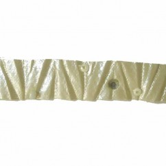 CREATIVE DECOR - 14mm Crumple Tape with Beads - Ivory