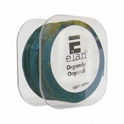 ELAN Organza Ribbon with 2 Stripes 25mm x 5m - X'mas Green