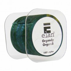 ELAN Organza Ribbon with 2 Stripes 50mm x 4m - Xmas Green