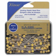 "KLASSE´ Quilting Plastic Head Pins Yellow 165pcs - 50mm (2"")"