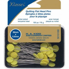 "KLASSE´ quilting flathead pins - assorted colours - 100pcs - 50mm (2"")"