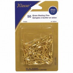 "KLASSE´ Brass Safety Pins - 27mm (1 1/16"") Size 1 - 50pcs"