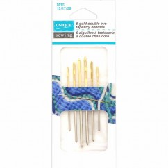 UNIQUE SEWING Gold Plated Double Eye Tapestry Needles - Assorted Sizes - 6 pcs.