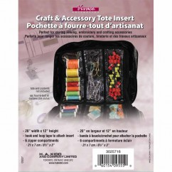 "VIVACE Craft Tote Inserts - 6 Pockets Black -  51cm x 30.5 cm (20"" x 12"")"