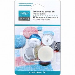 "UNIQUE SEWING Buttons to Cover Kit with Tool - size 30 - 19mm (¾"") - 4 sets"